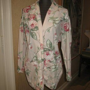 CONTEMPO CASUALS  FLORAL BLAZER WITH ROSES -L